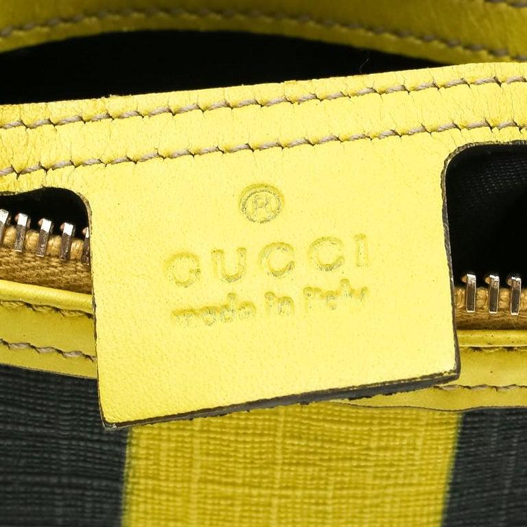 Gucci White/Yellow GG Supreme Canvas Small Web Joy Boston Bag For Sale 4