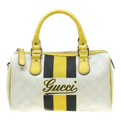 Gucci White/Yellow GG Supreme Canvas Small Web Joy Boston Bag