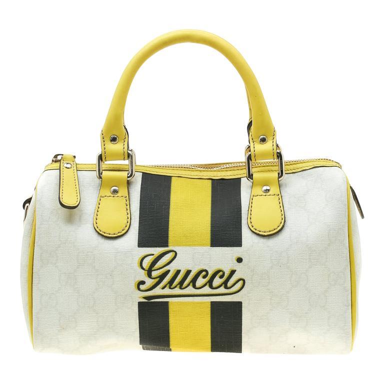 Gucci White/Yellow GG Supreme Canvas Small Web Joy Boston Bag For Sale