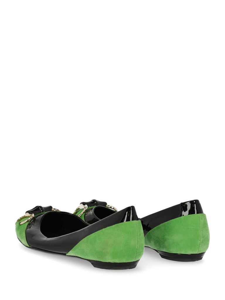 Gucci Woman Ballet flats Black, Green EU 38 In Fair Condition For Sale In Milan, IT