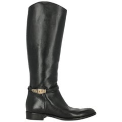Gucci Woman Boots Black Leather IT 38.5