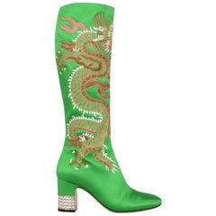 Gucci Woman Boots Green Silk IT 37