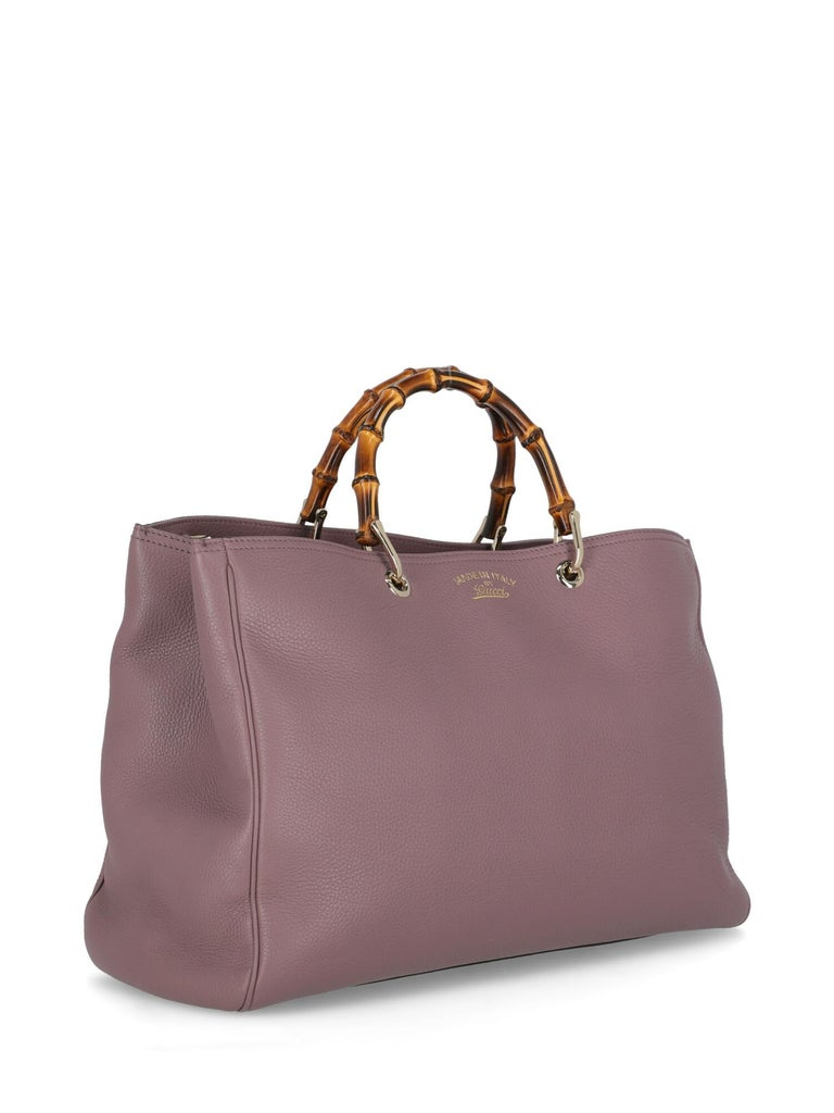 Gray Gucci Woman Handbag Bamboo Purple Leather For Sale