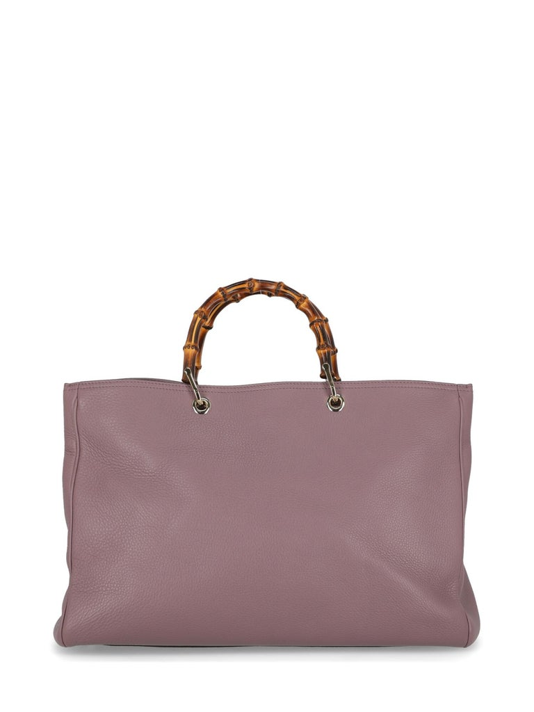 Gucci Woman Handbag Bamboo Purple Leather In Excellent Condition For Sale In Milan, IT