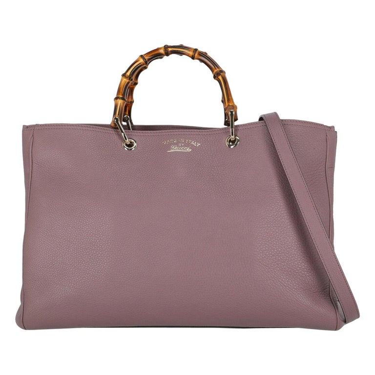 Gucci Woman Handbag Bamboo Purple Leather For Sale