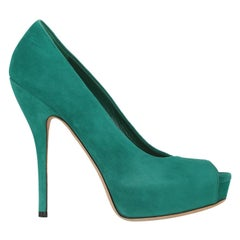 Gucci Woman Pumps Green Leather IT 36.5