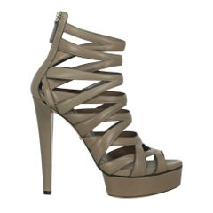 Gucci Woman Sandals Grey Leather IT 39.5