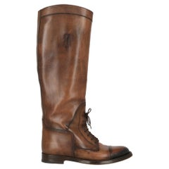 Gucci Woman Shoes Boots Brown Leather EU 37.5