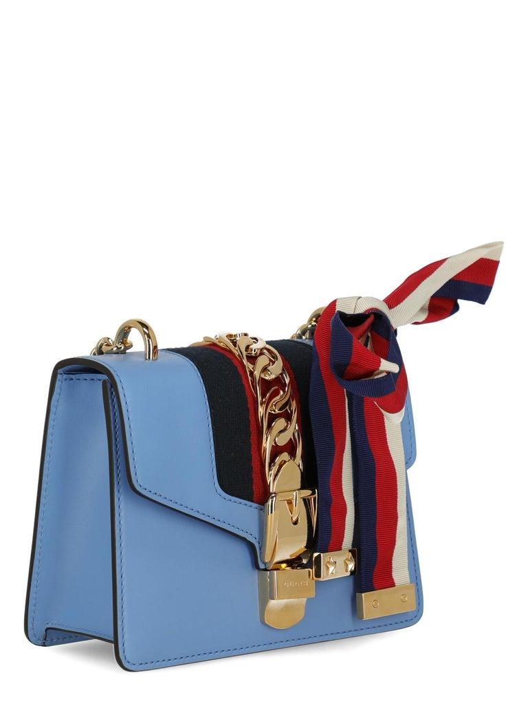 Gray Gucci Woman Shoulder bag Sylvie Blue Leather