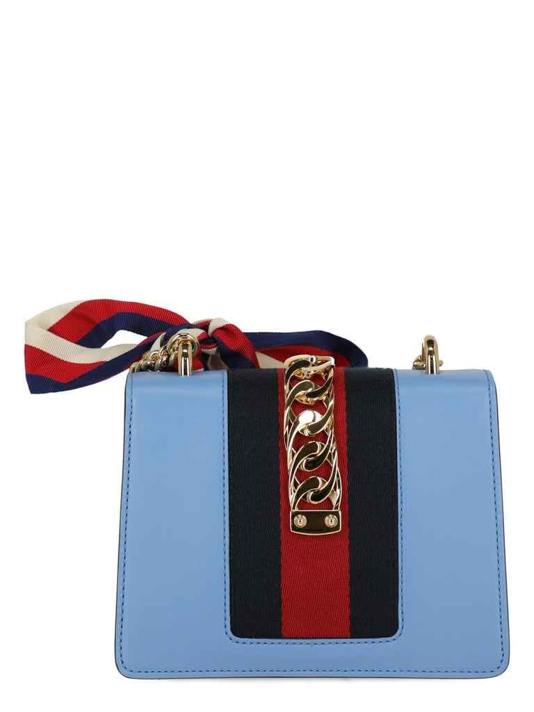 Gucci Woman Shoulder bag Sylvie Blue Leather In Excellent Condition In Milan, IT