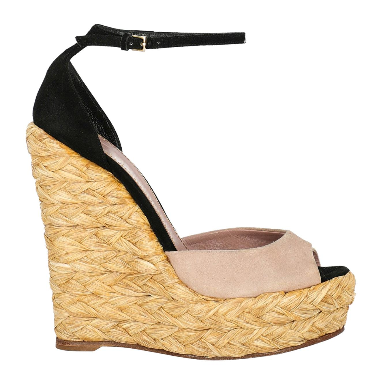 Gucci Woman Wedges Black Leather IT 36