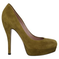 Gucci Women  Pumps Green Leather IT 36.5