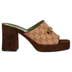 Gucci  Women   Sandals  Beige, Brown Fabric EU 40