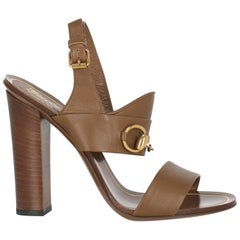Gucci Women  Sandals Brown Leather IT 36