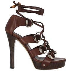 Gucci Women  Sandals Brown Leather IT 37