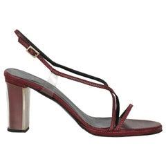 Gucci Women  Sandals Burgundy Leather IT 38