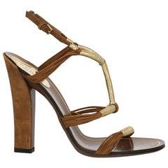 Gucci  Women   Sandals  Camel Color, Gold Leather EU 36
