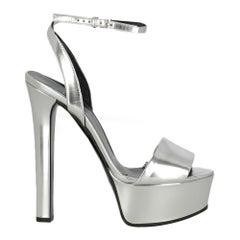 Gucci  Women   Sandals  Silver Leather EU 37