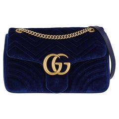 Gucci  Women   Shoulder bags  Marmont Navy Fabric