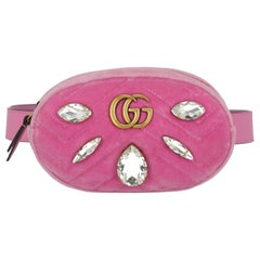 Gucci Women's Belt Bag Marmont Pink Fabric