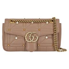 Gucci Women's Cross Body Bag Marmont Beige Leather