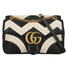 Gucci Women's Crossbody Bag Marmont Black/Ecru Leather
