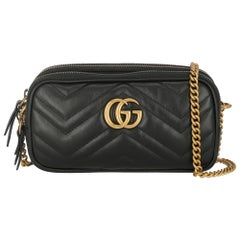 Gucci Women's Crossbody Bag Marmont Black Leather
