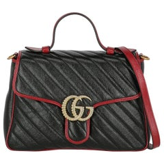 Gucci Women's Crossbody Bag  Marmont Black/Red Leather