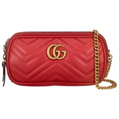 Gucci Women's Crossbody Bag Marmont Red Leather