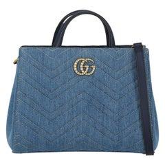 Gucci Women's Handbag Marmont Blue Cotton