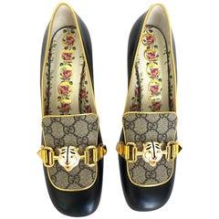 Gucci Women's Leather GG Supreme Embellished Mid-heel Loafer Pump