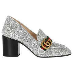 Gucci Women's Loafers Silver Fabric IT 36.5