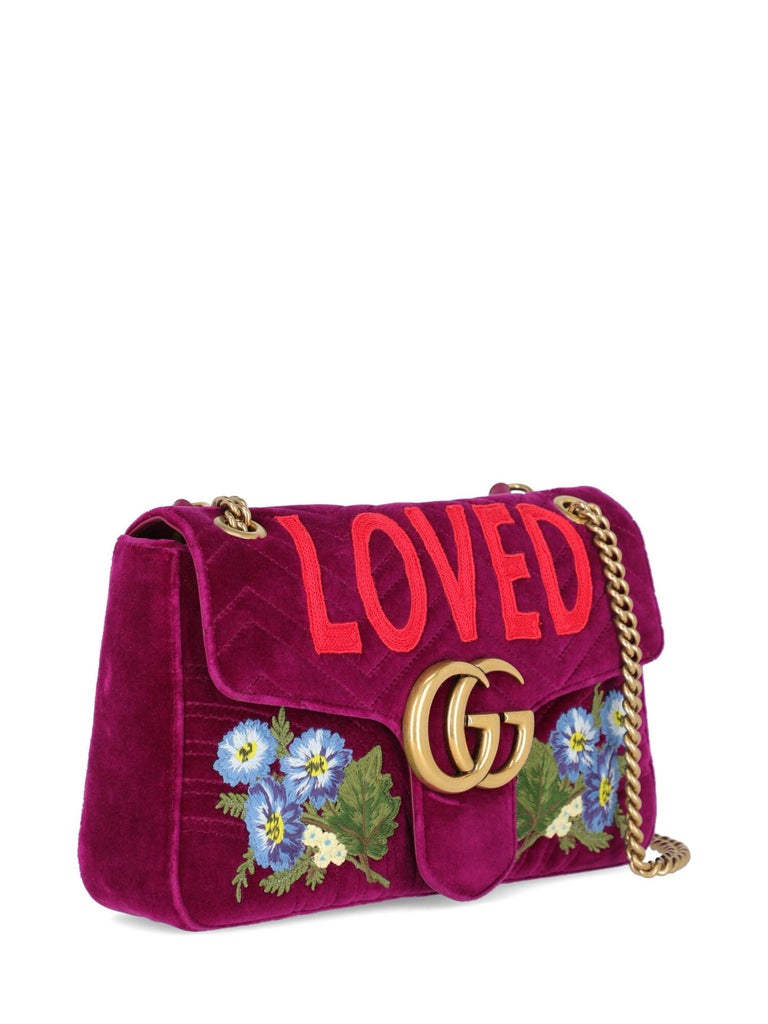Red Gucci Women's Marmont Purple Fabric