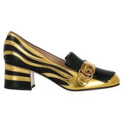 Gucci Women's Pumps Black, Gold Leather IT 37