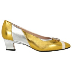 Gucci Women's Pumps Gold/Silver/White Leather IT 38,5