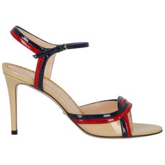 Gucci Women's Sandals Beige/Navy/Red Leather IT 39