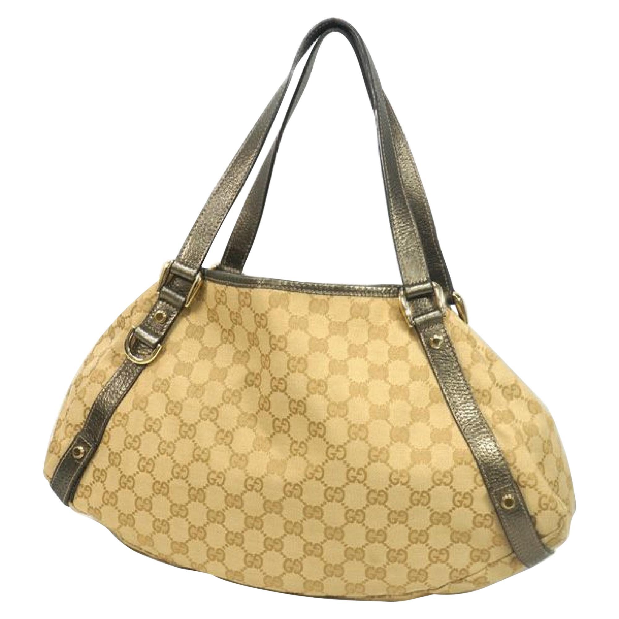 GUCCI Womens shoulder bag 130736 002122 beige x metallic khaki