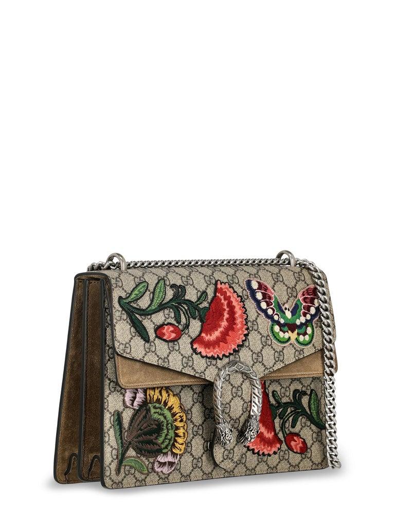 Brown Gucci Women's Shoulder Bag Dionysus Beige/Multicolor Synthetic Fibers For Sale