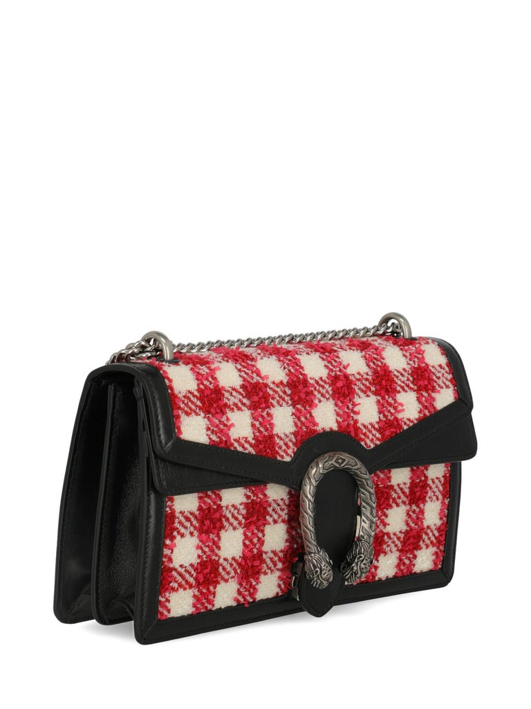 Pink Gucci Women's Shoulder Bag Dionysus Black/Red/White Fabric For Sale