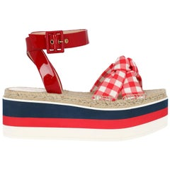 Gucci Women's Wedges Red/White Fabric  IT 39,5