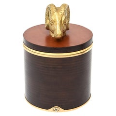 Gucci Wood, Leather and Brass Rams Head Lidded Box Signed Vintage