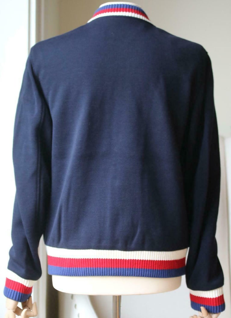 Gucci Wool Jersey Bomber Jacket In Excellent Condition For Sale In London, GB