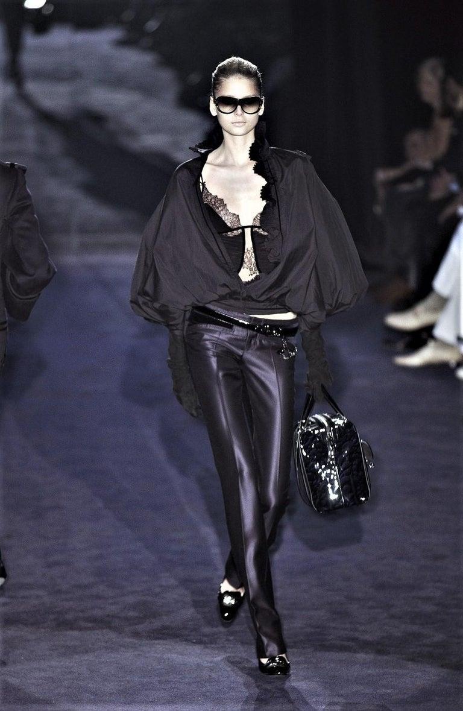New Gucci Wool & Silk Runway Pants F / W 2005 Sz 44 U.S. 8 For Sale 2