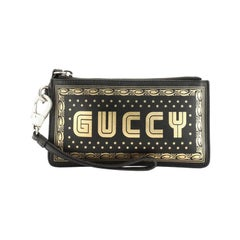 Gucci Wristlet Clutch Limited Edition Printed Leather Small