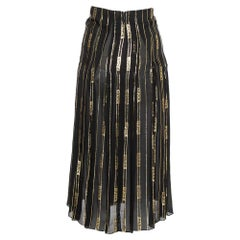 Gucci X Dapper Dan Black & Gold Silk Logo Detail Pleated Midi Skirt XS