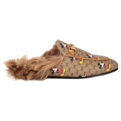 GUCCI x DISNEY brown GG leather FUR PRINCETOWN Slides Shoes 38.5
