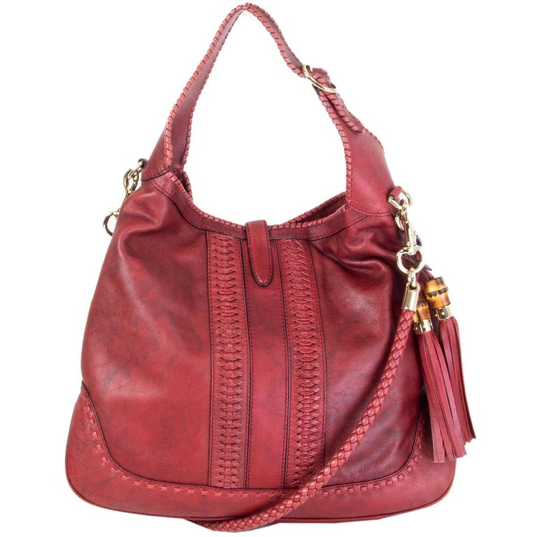 Red GUCCI x GREEN CARPET CHALLENGE burgundy leather NEW JACKIE LARGE HOBO Bag For Sale