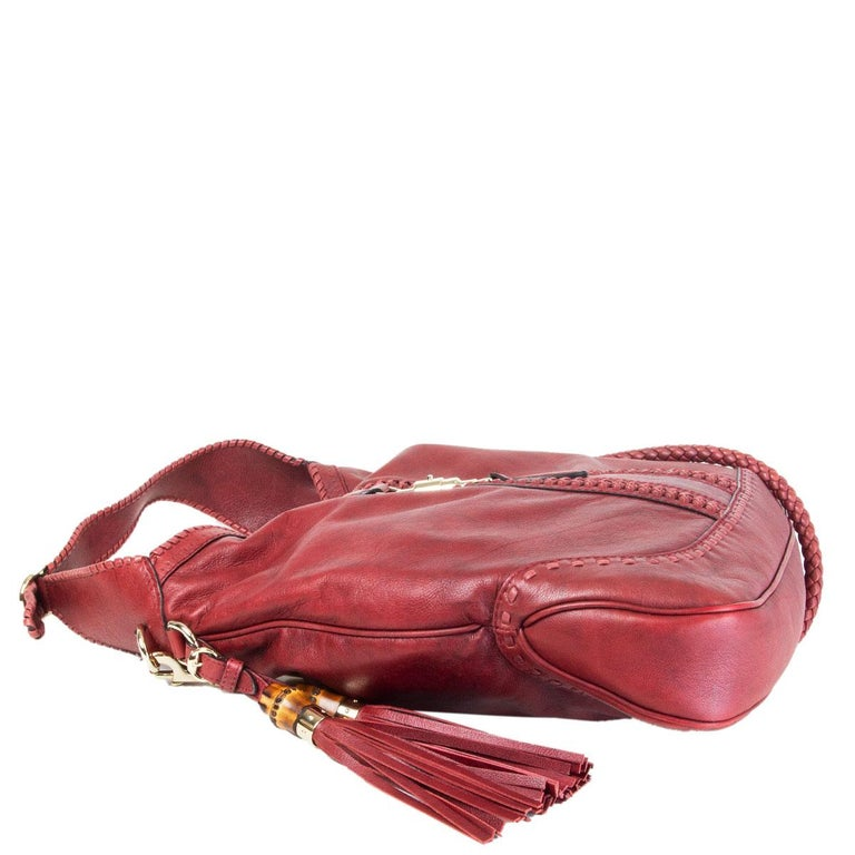 GUCCI x GREEN CARPET CHALLENGE burgundy leather NEW JACKIE LARGE HOBO Bag In Excellent Condition For Sale In Zürich, CH