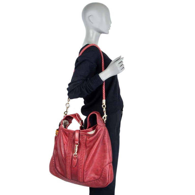 GUCCI x GREEN CARPET CHALLENGE burgundy leather NEW JACKIE LARGE HOBO Bag For Sale 3