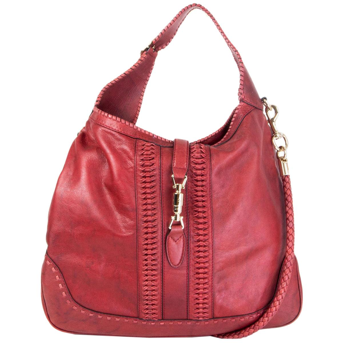 GUCCI x GREEN CARPET CHALLENGE burgundy leather NEW JACKIE LARGE HOBO Bag